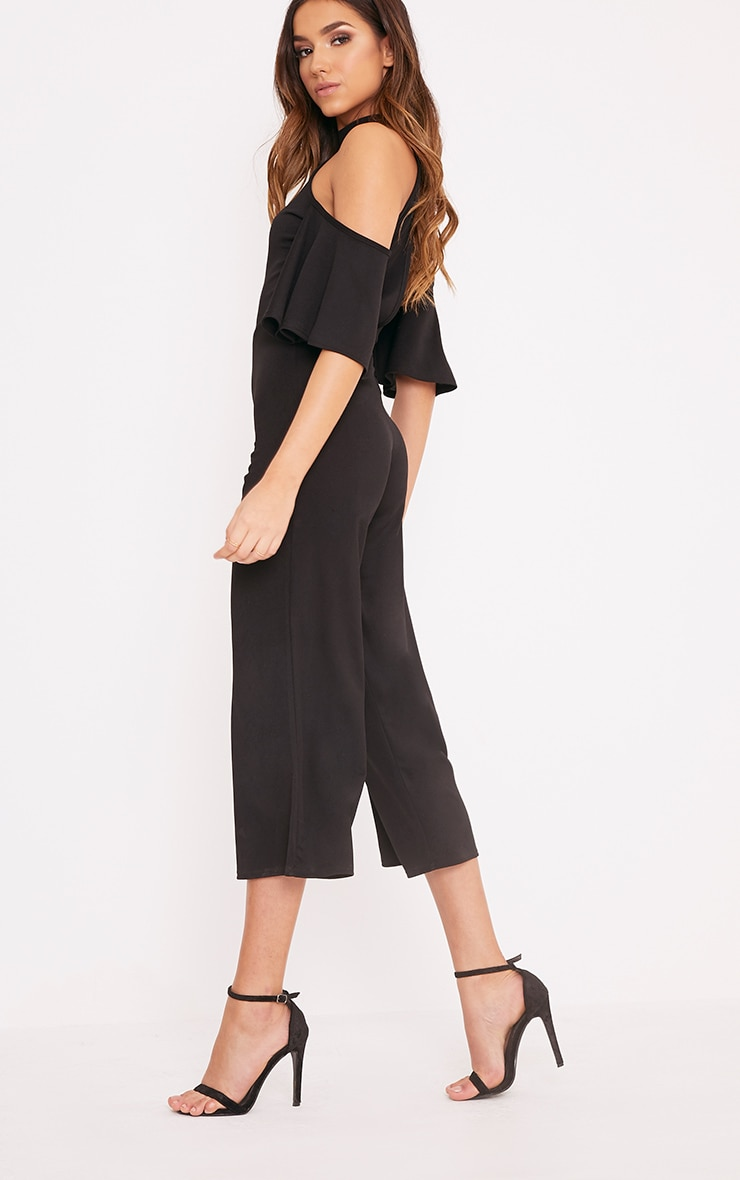 Jaymie Black Cold Shoulder Cullotte Jumpsuit 4