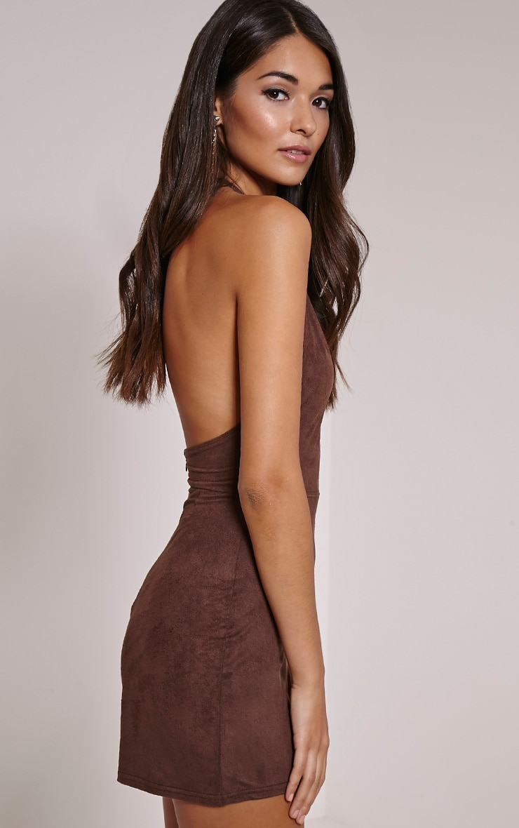 Stacy Chocolate Faux Suede Halterneck Playsuit 3