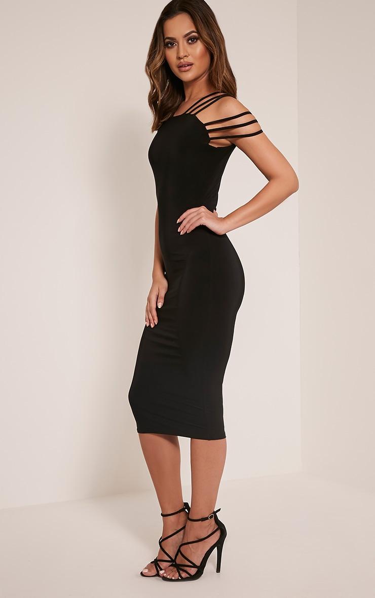 Kellia Black Multi Strap Detail Midi Dress 5