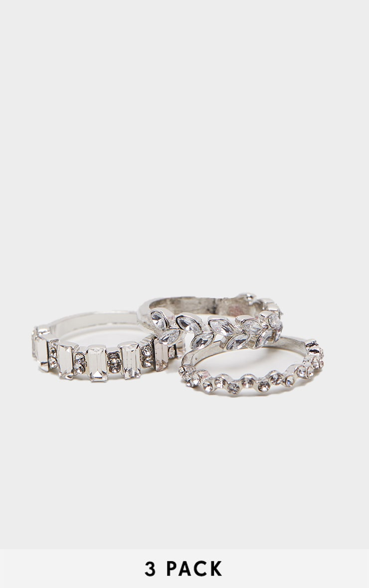 Silver Diamante Three Set Stacking Rings 1