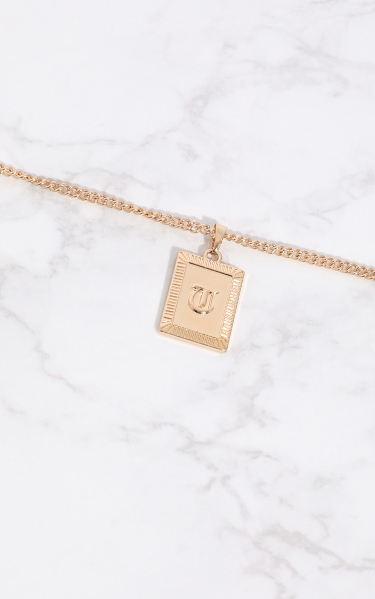 Gold Square Letter T Pendant Necklace 3