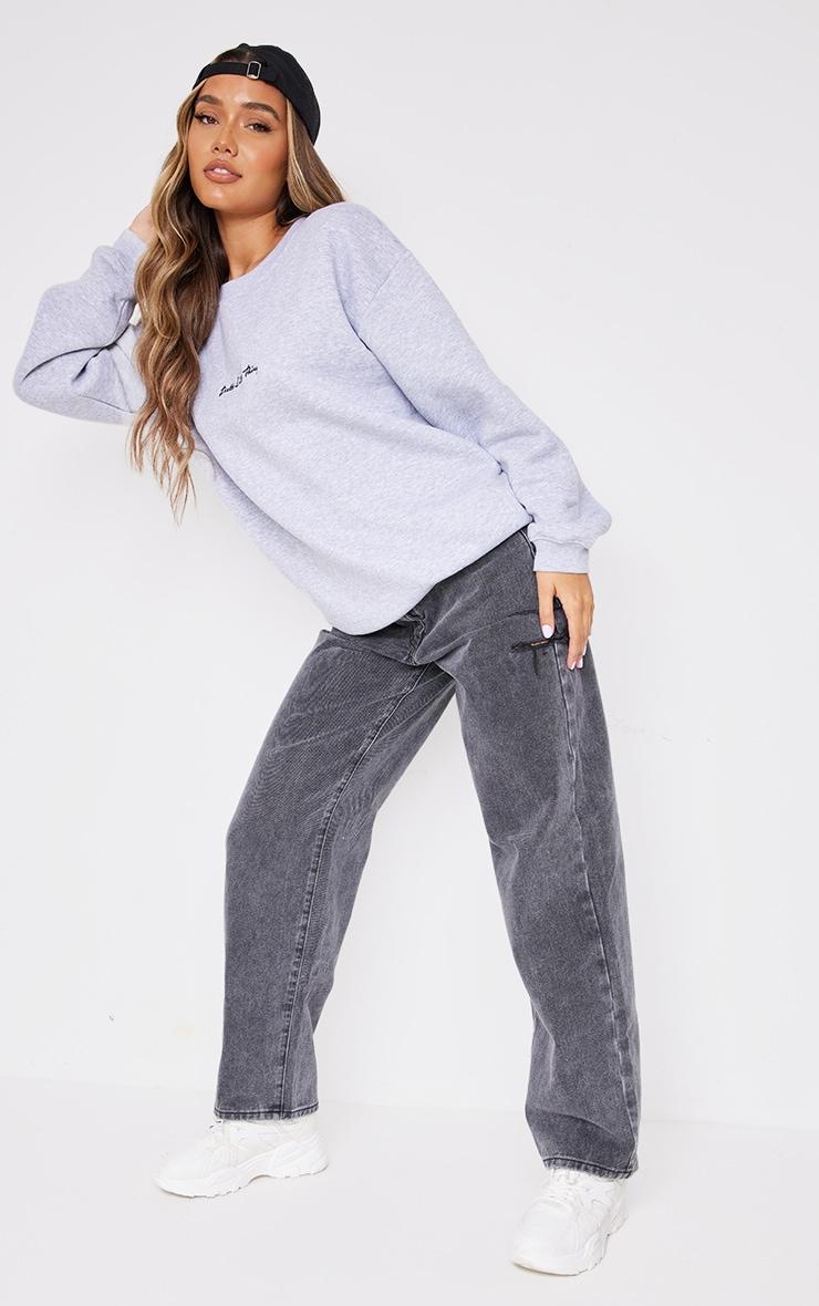 PRETTYLITTLETHING Ash Grey Marl Oversized Sweatshirt 3