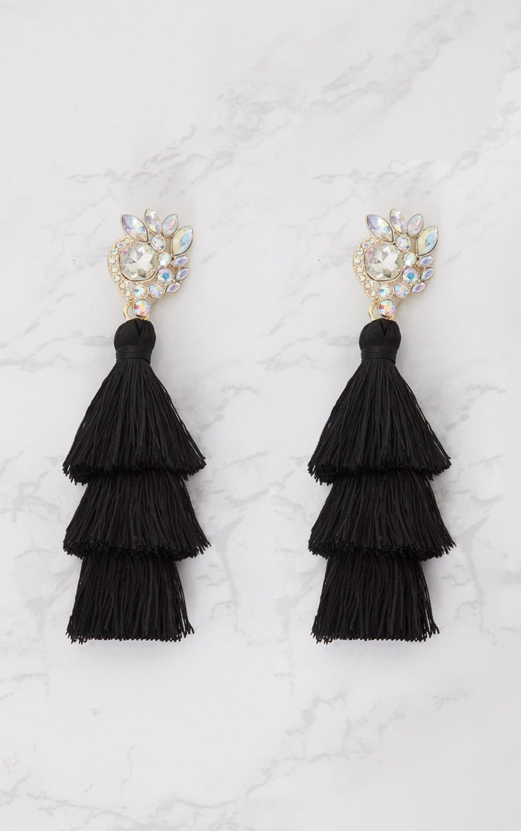 Black Jewel Stud Triple Tassel Earrings 3
