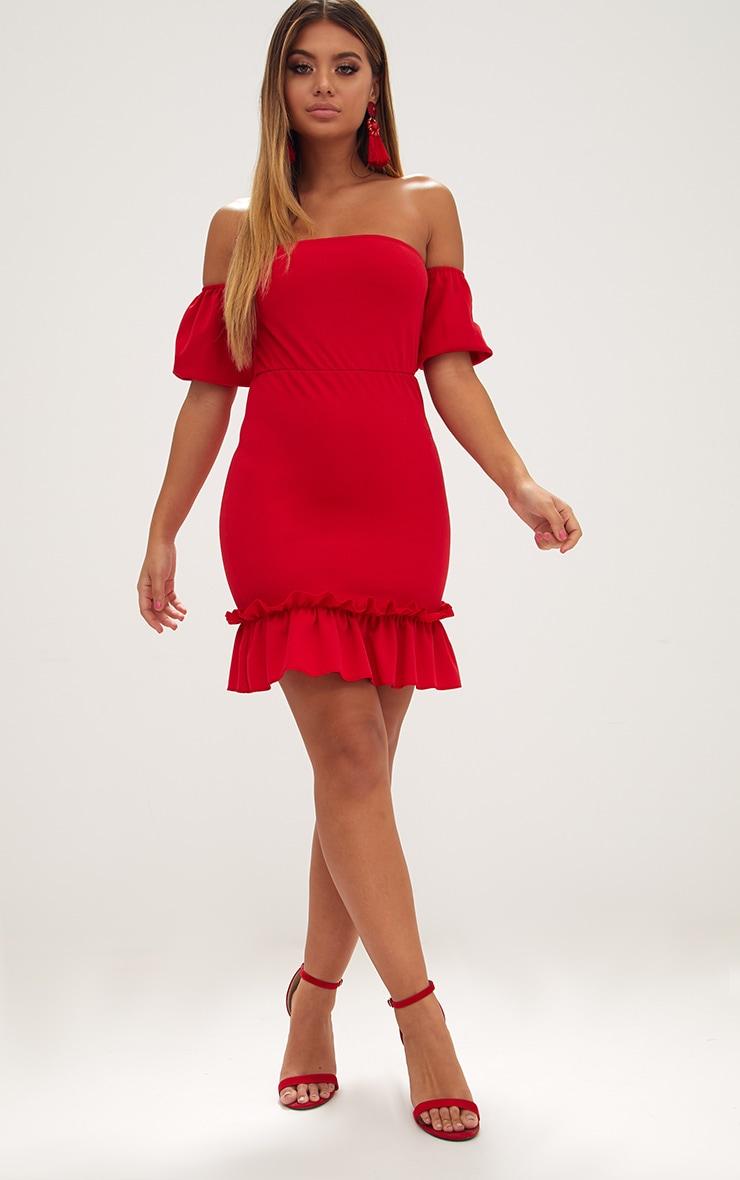 Red Puff Sleeve Bardot Frill Hem Bodycon Dress 4