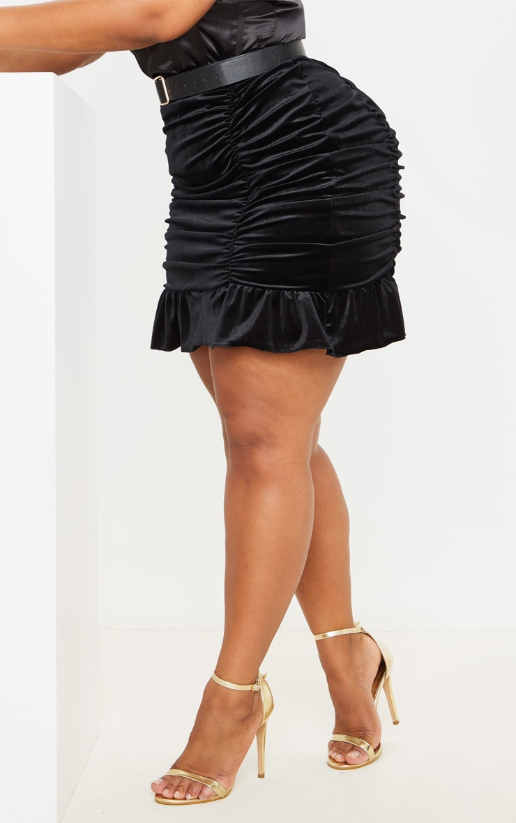 Plus Black Velvet Ruched Bodycon Skirt 4