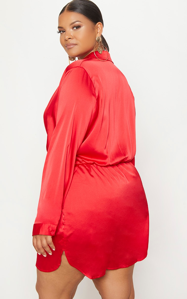 Plus Red Twist Front Silky Shirt Dress 2