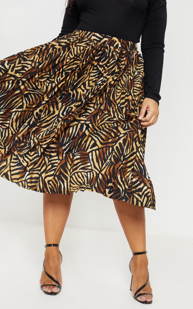Plus Brown Tiger Print Pleated Midi Skirt 2