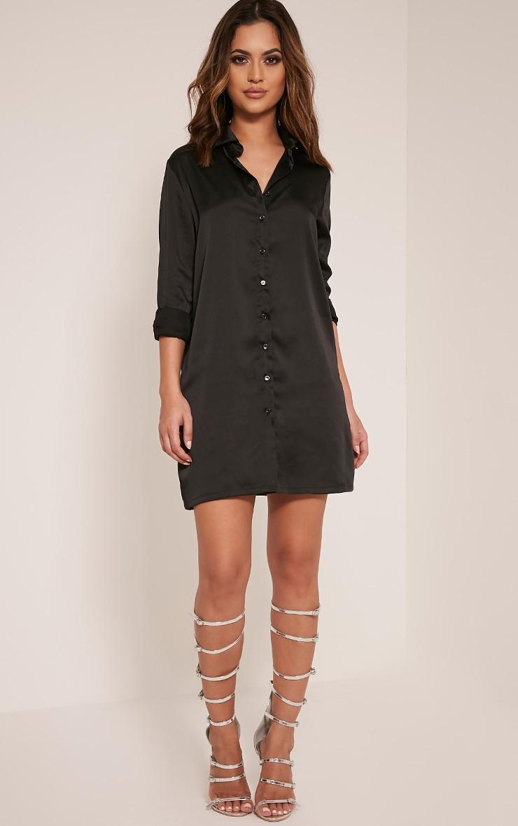 Lizzey Black Floral Embroidered Satin Shirt Dress 4
