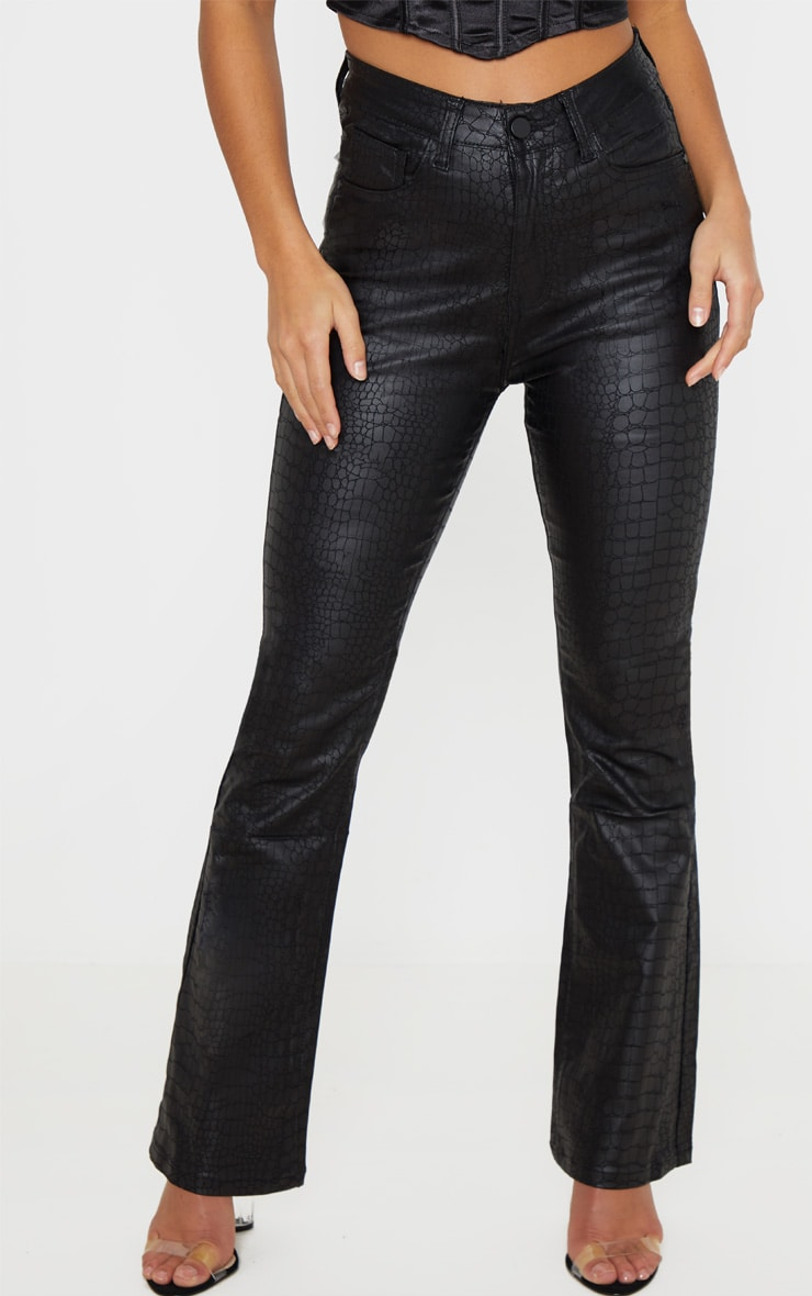 Petite Black Coated Denim Croc Flared Jean 2