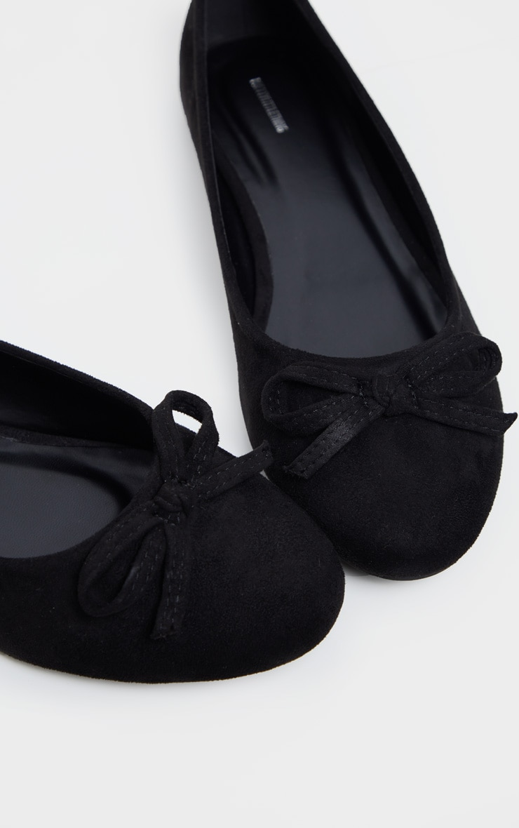 Black Wide Fit Round Toe Ballet Shoes 4