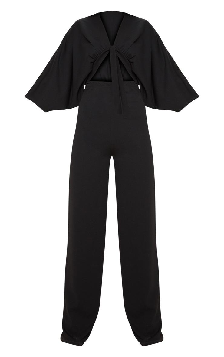 Black Crepe Batwing Cut Out Jumpsuit 3