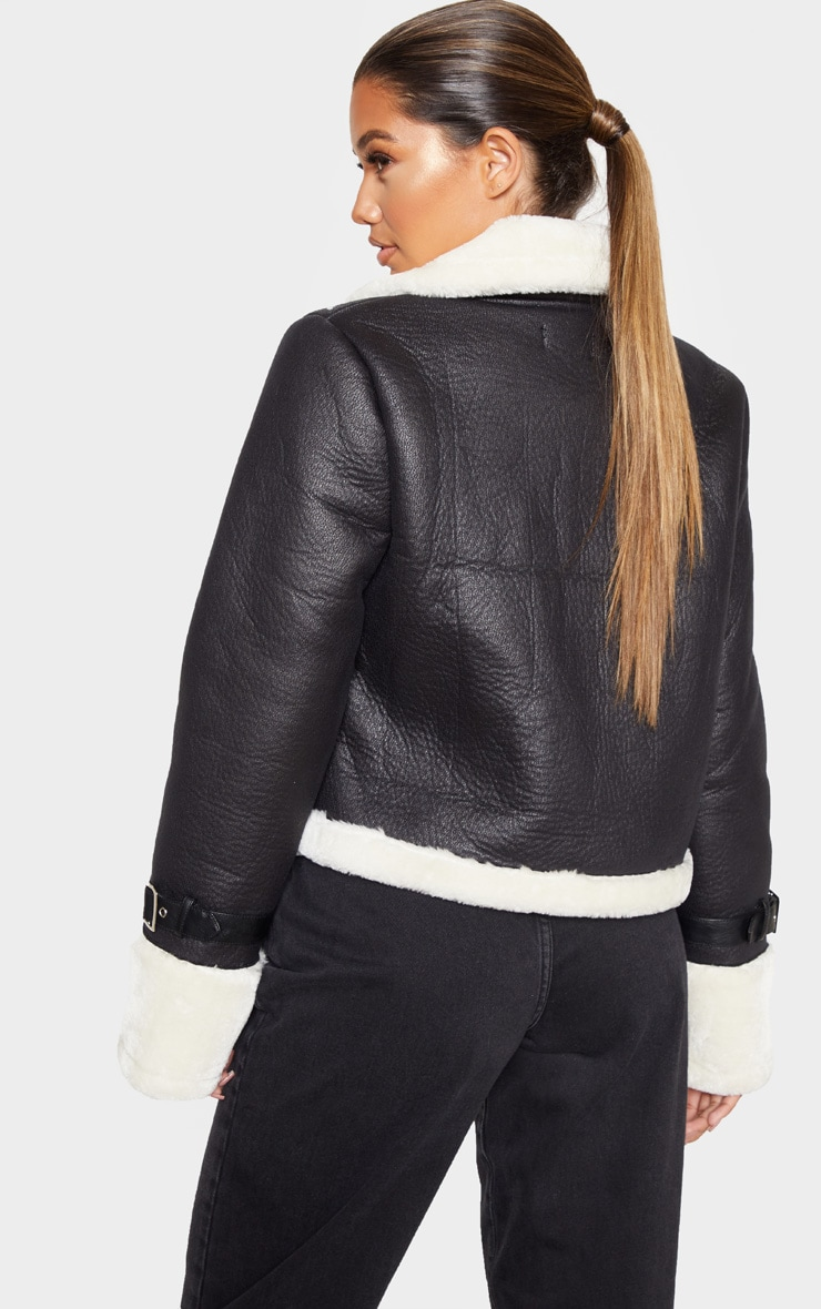 Black Borg Trim Cropped PU Jacket 2