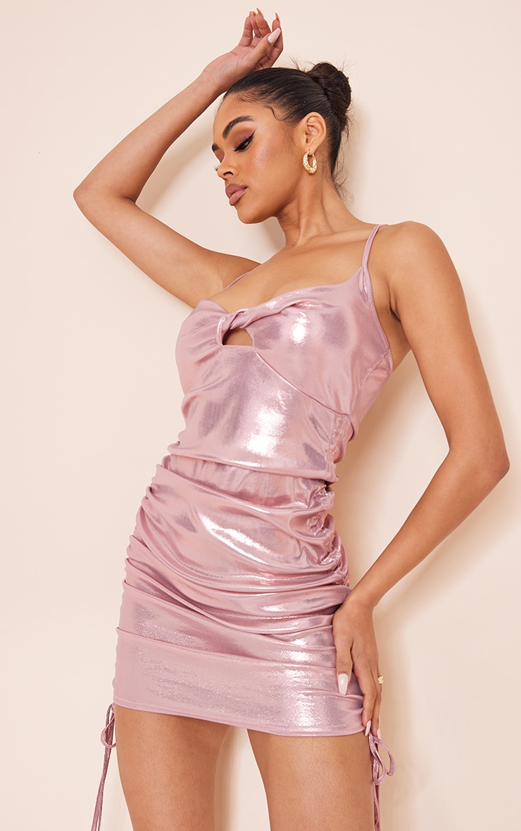 Pink Metallic Slinky Strappy Twist Bust Detail Ruched Bodycon Dress 1