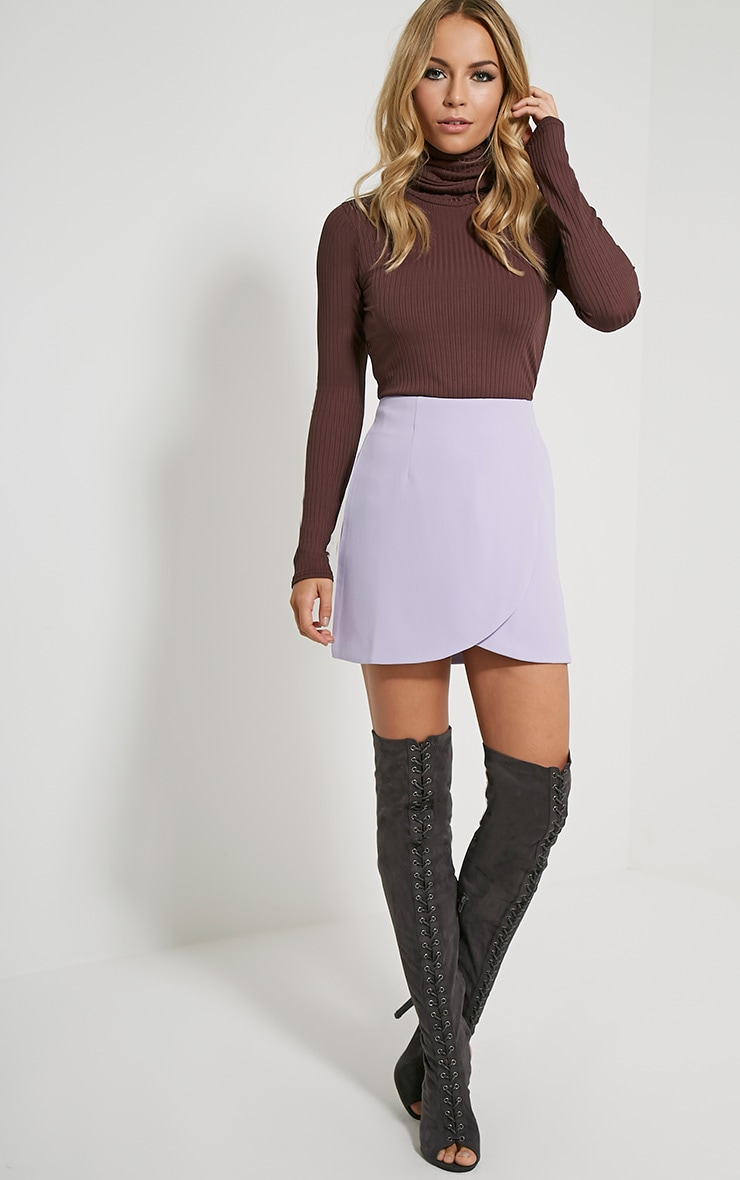 Sabeen Mauve Curved Hem Mini Skirt 1