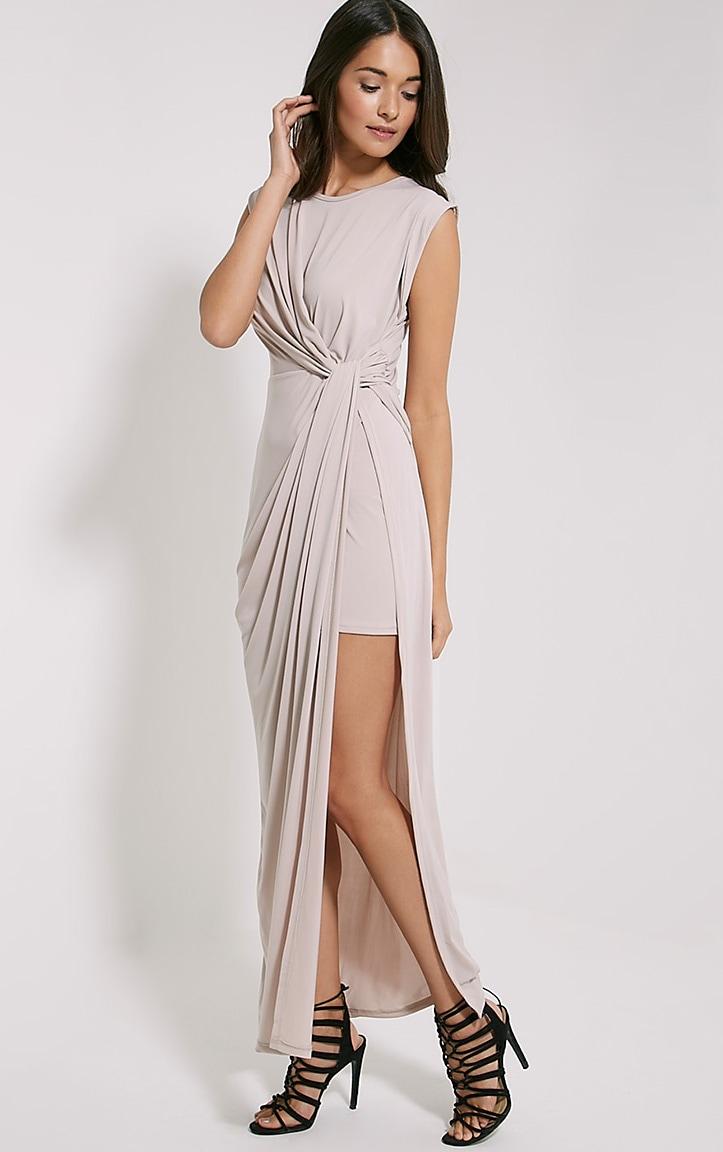 Reeta Nude Twist Front Maxi Dress 4