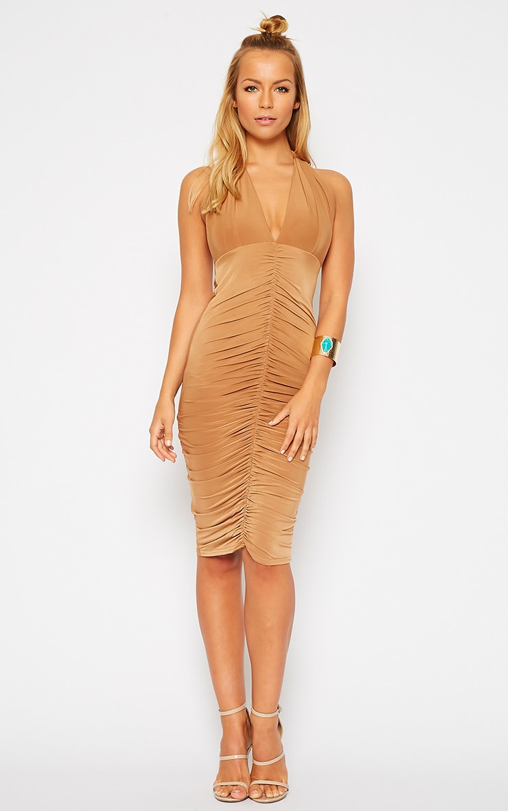 Lucienne Camel Plunge Ruched Front Dress 1