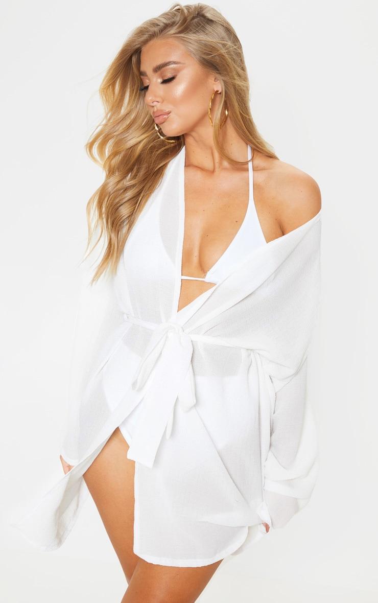White Crinkle Textured Short Beach Kimono 1