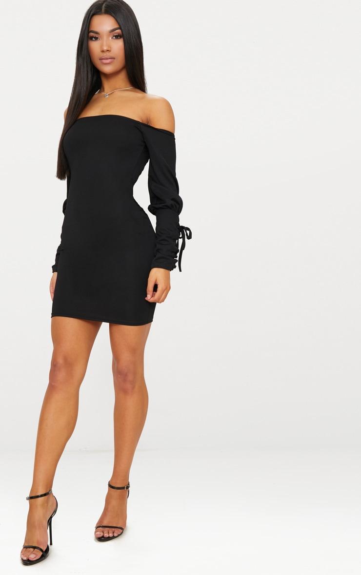 Black Lace Up Sleeve Bardot Bodycon Dress 2