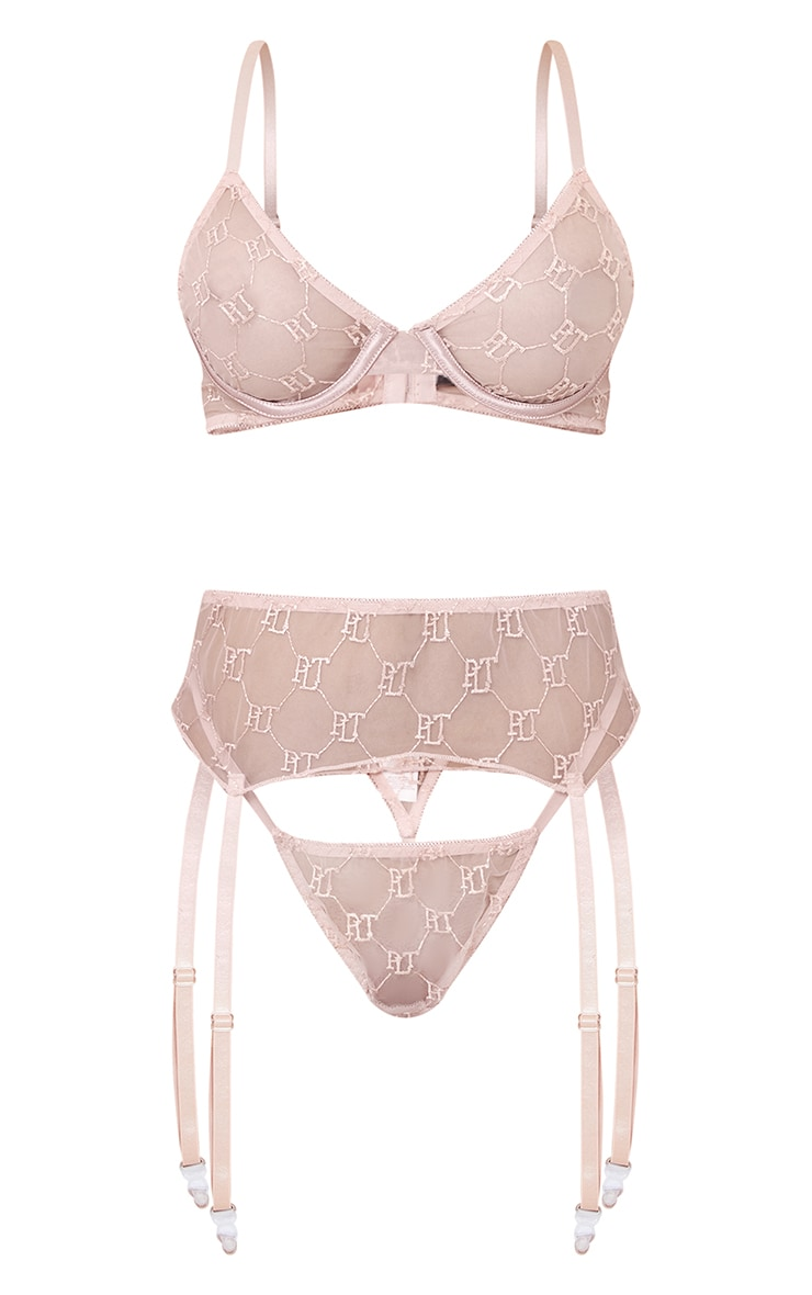 PRETTYLITTLETHING Nude Embroidered Mesh Underwired 3 Piece Lingerie Set 5