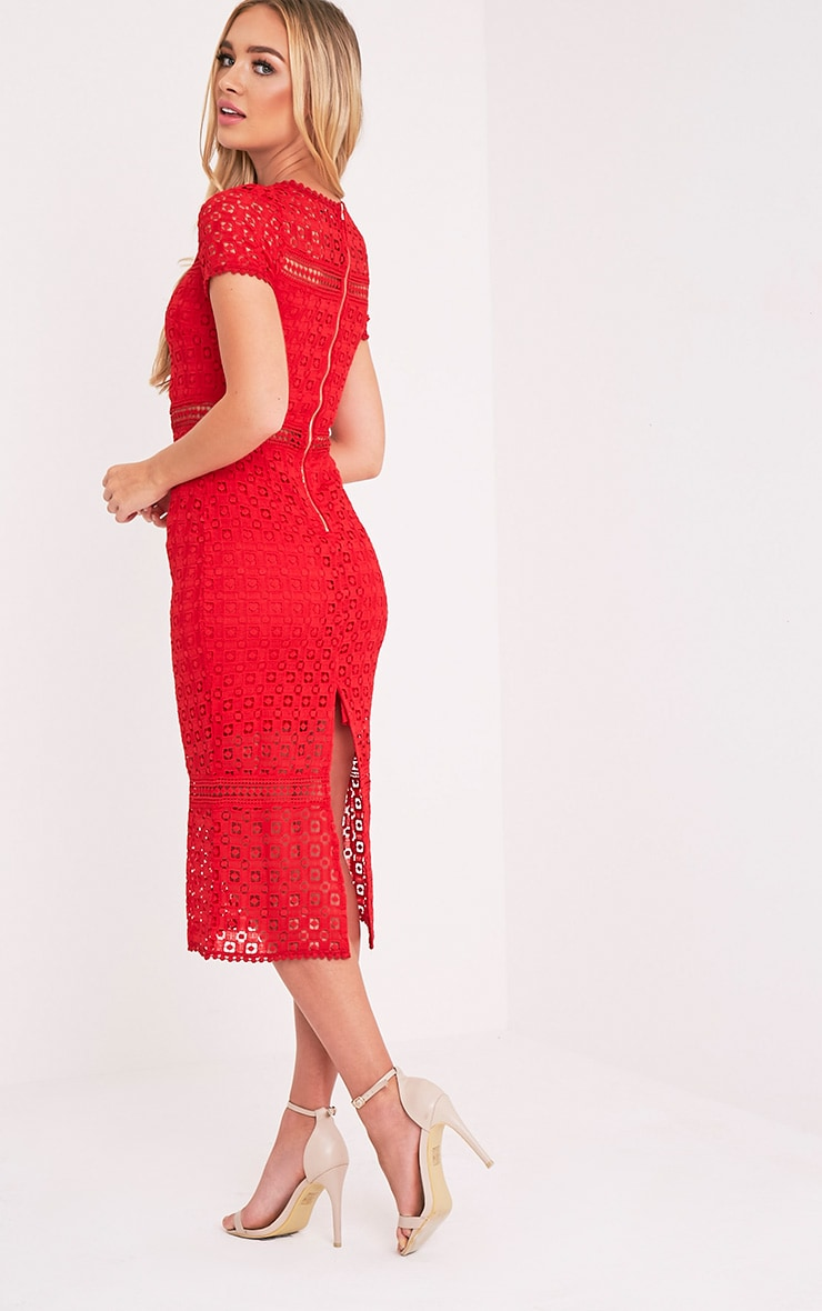 Midira Red Crochet Lace Midi Dress 4