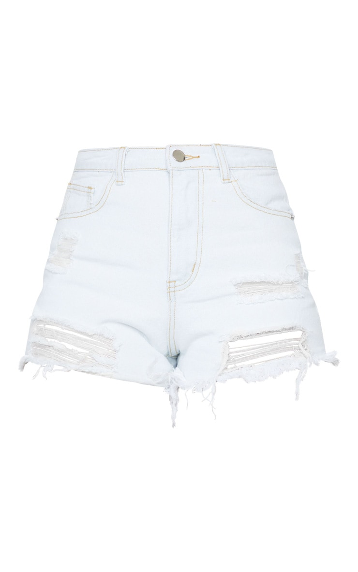 PRETTYLITTLETHING Distressed Bleach Wash Denim Shorts 6