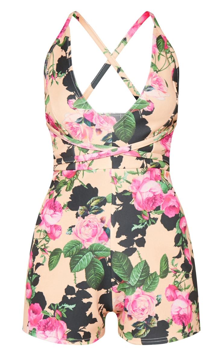 Peach Floral Cross Waist Playsuit 3