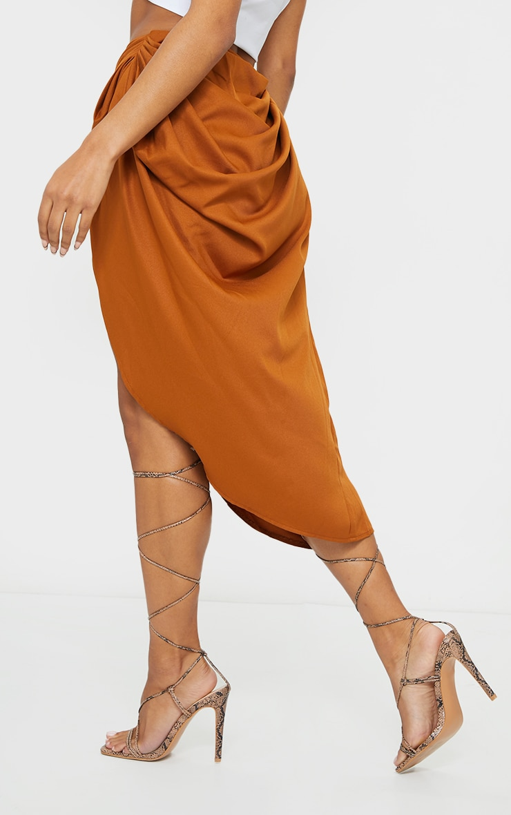 Brown Ruched Side Midi Skirt 3