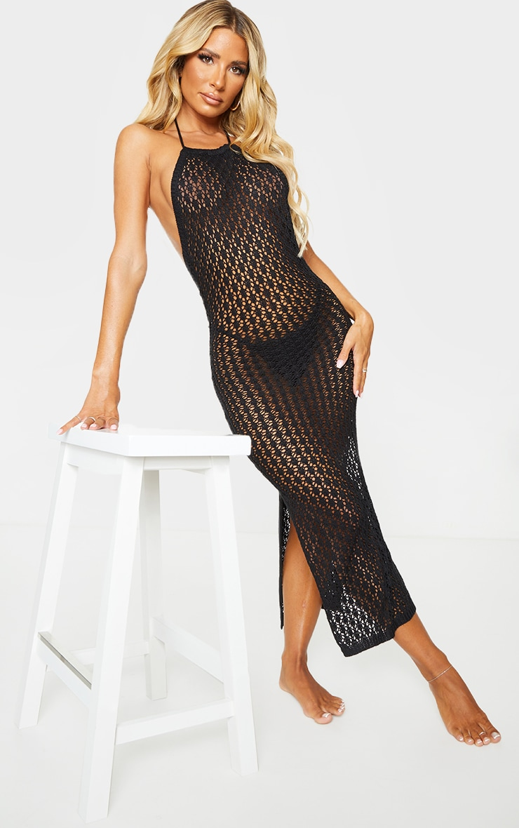 Black Halterneck Crochet Side Split Midi Dress 1
