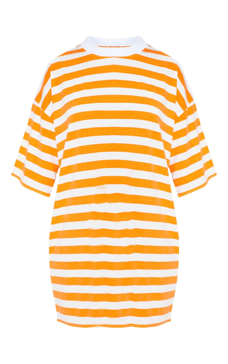 Orange Stripe Oversized Boyfriend T Shirt Dress 3