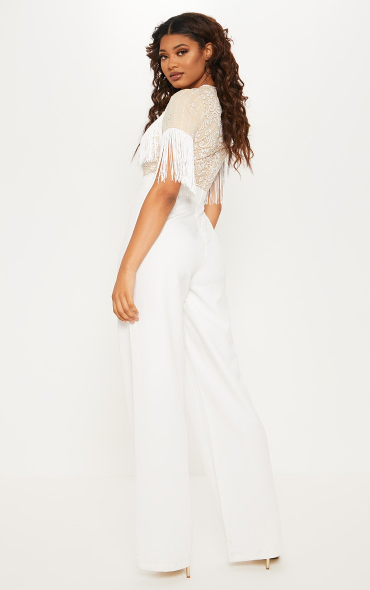 Tall White Sequin Embroidered Tassel Front Jumpsuit 2