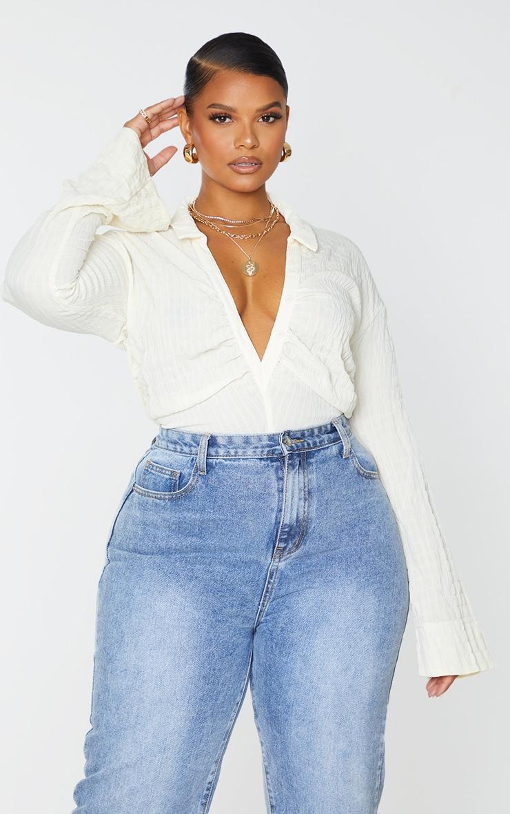 Plus Cream Check Textured Button Up Long Sleeve Bodysuit 3