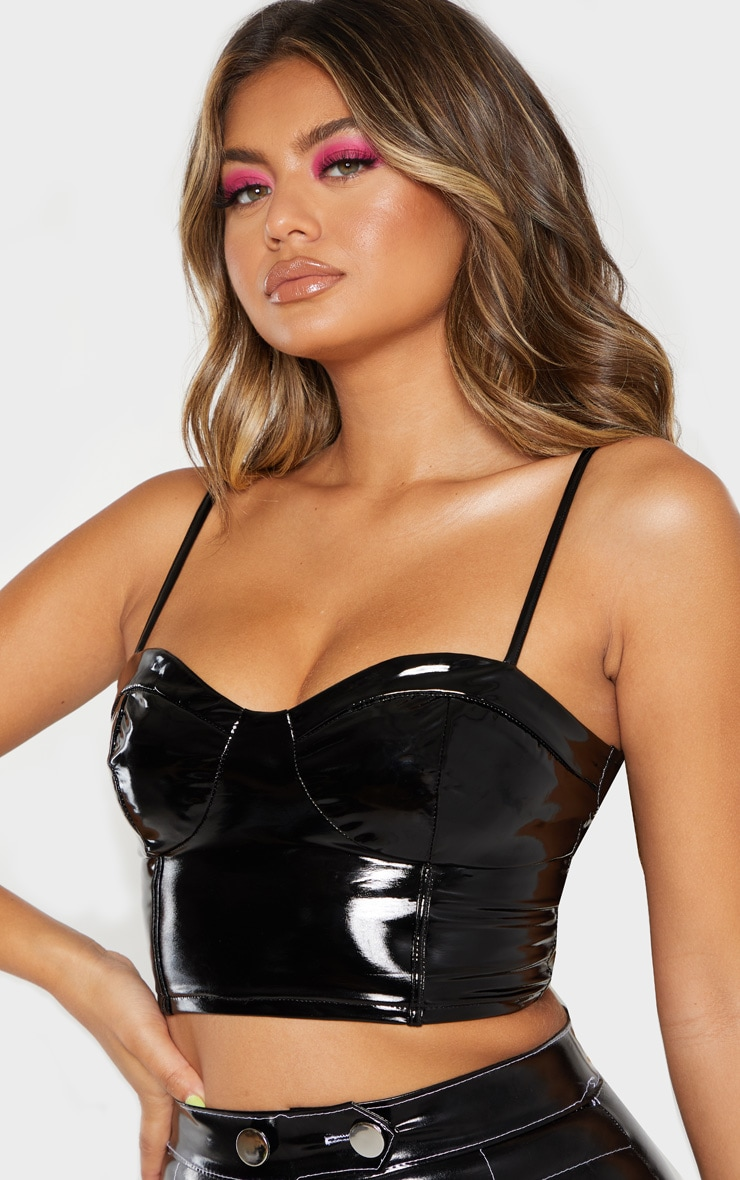 Black Vinyl Strappy Back Crop Top 5