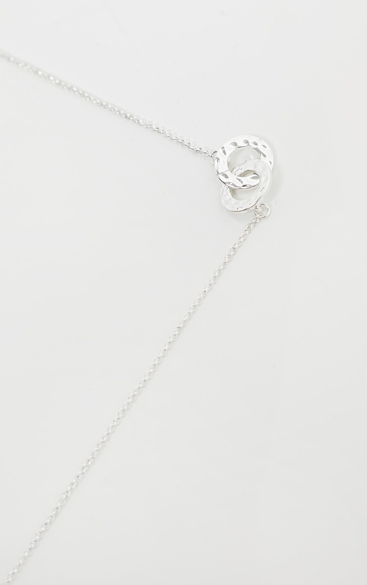 Silver Double Circle Link Pendant Necklace 4