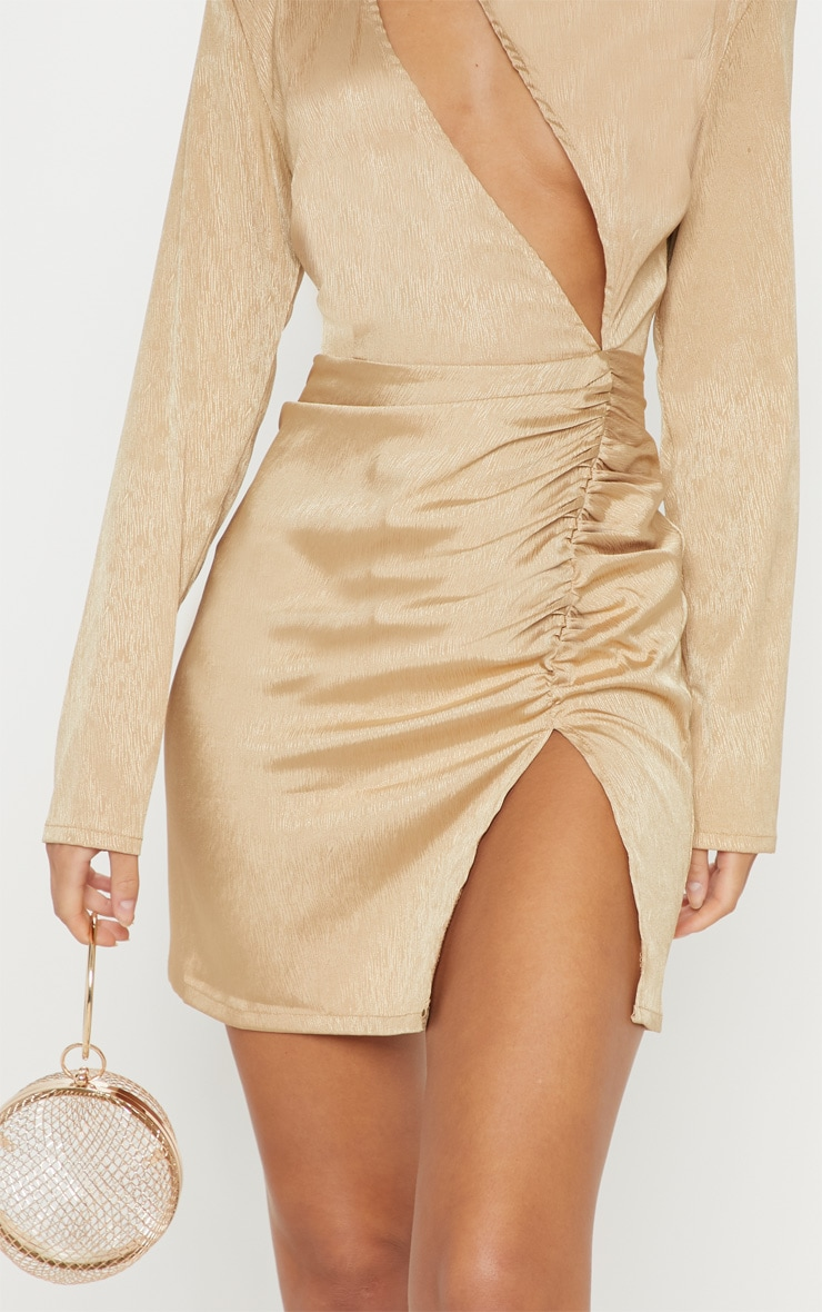 Champagne Satin Extreme Plunge Ruched Bodycon Dress 5