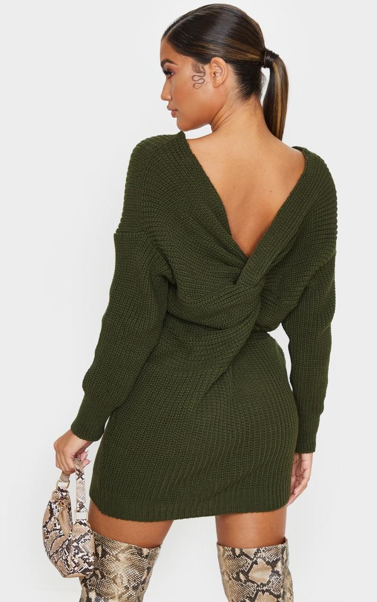 Khaki Twist Back Jumper Dress 1