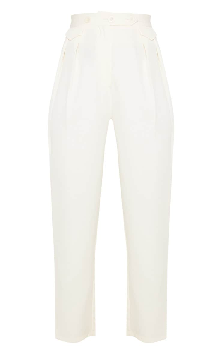Cream Tapered Button Front Pants 3