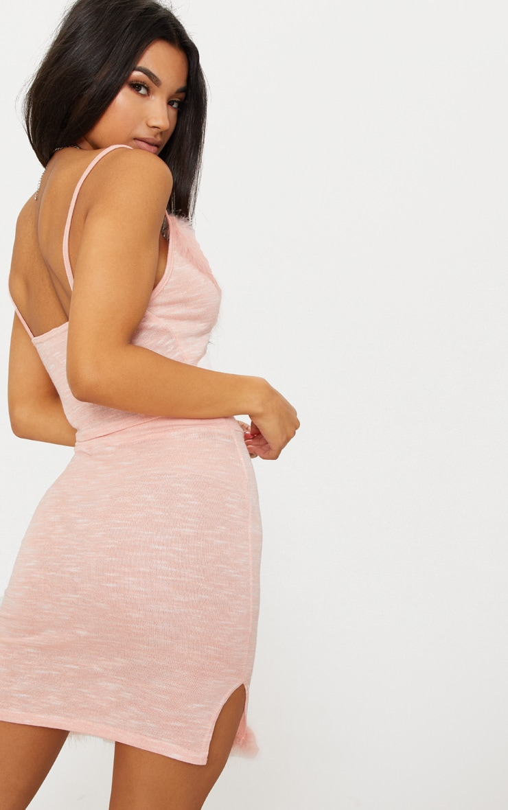 Pink Feather Trim Knit Cami Top 2
