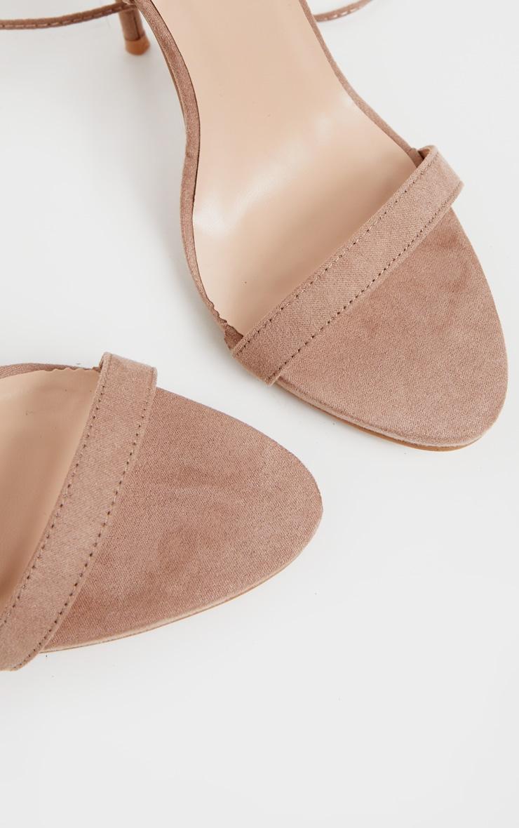 Sandales taupe à talons & lacets 4