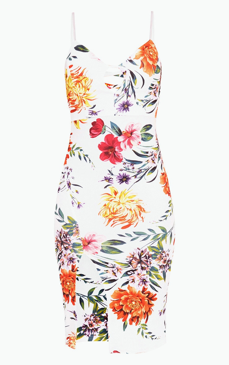 White Strappy Floral Midi Dress 3