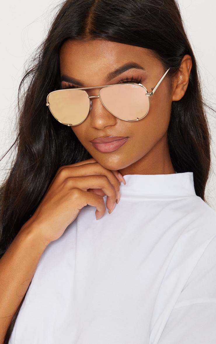 QUAY AUSTRALIA Gold X Desi High Mini Aviator Sunglasses 1