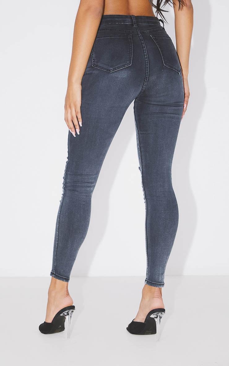 PRETTYLITTLETHING Washed Black Distressed 5 Pocket Skinny Jean 4