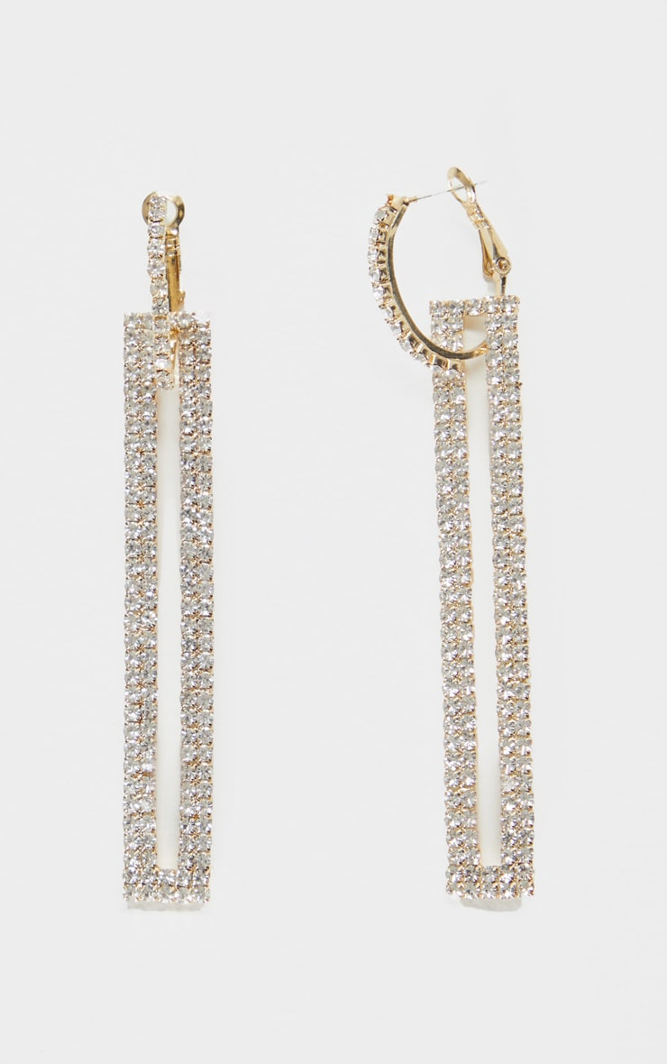 Gold Diamante Rectangle Drop Statement Earrings 2