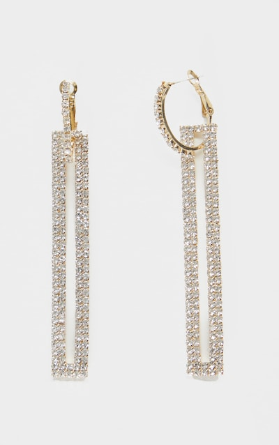 Gold Diamante Rectangle Drop Statement Earrings