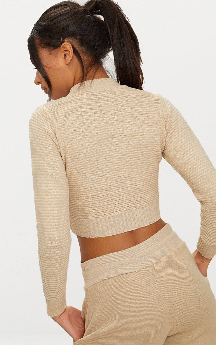 Stone Ribbed Cropped Knitted Sweater 2