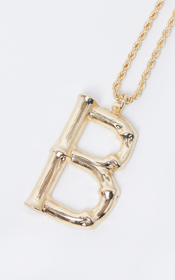 Gold B Bamboo Letter Necklace 4
