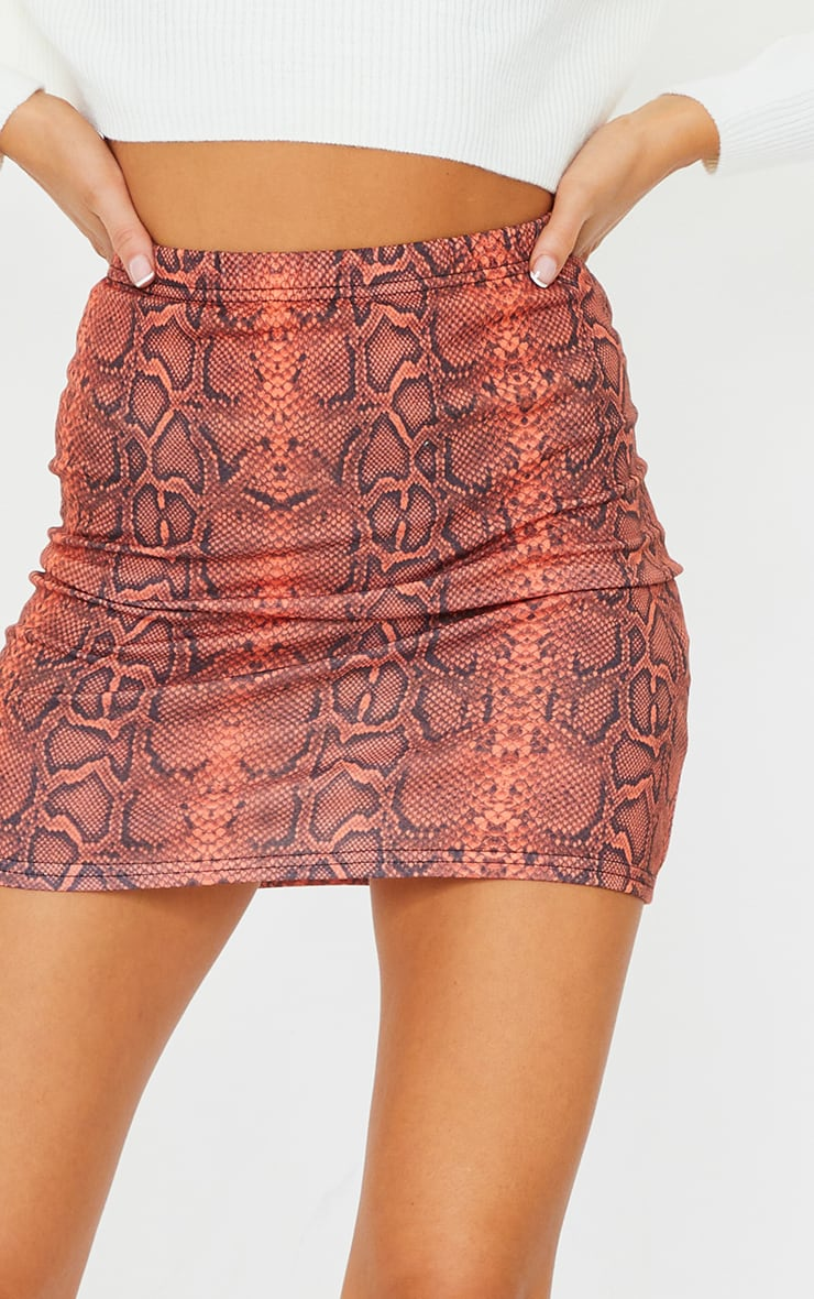 Rust Snake Printed Mini Skirt 5