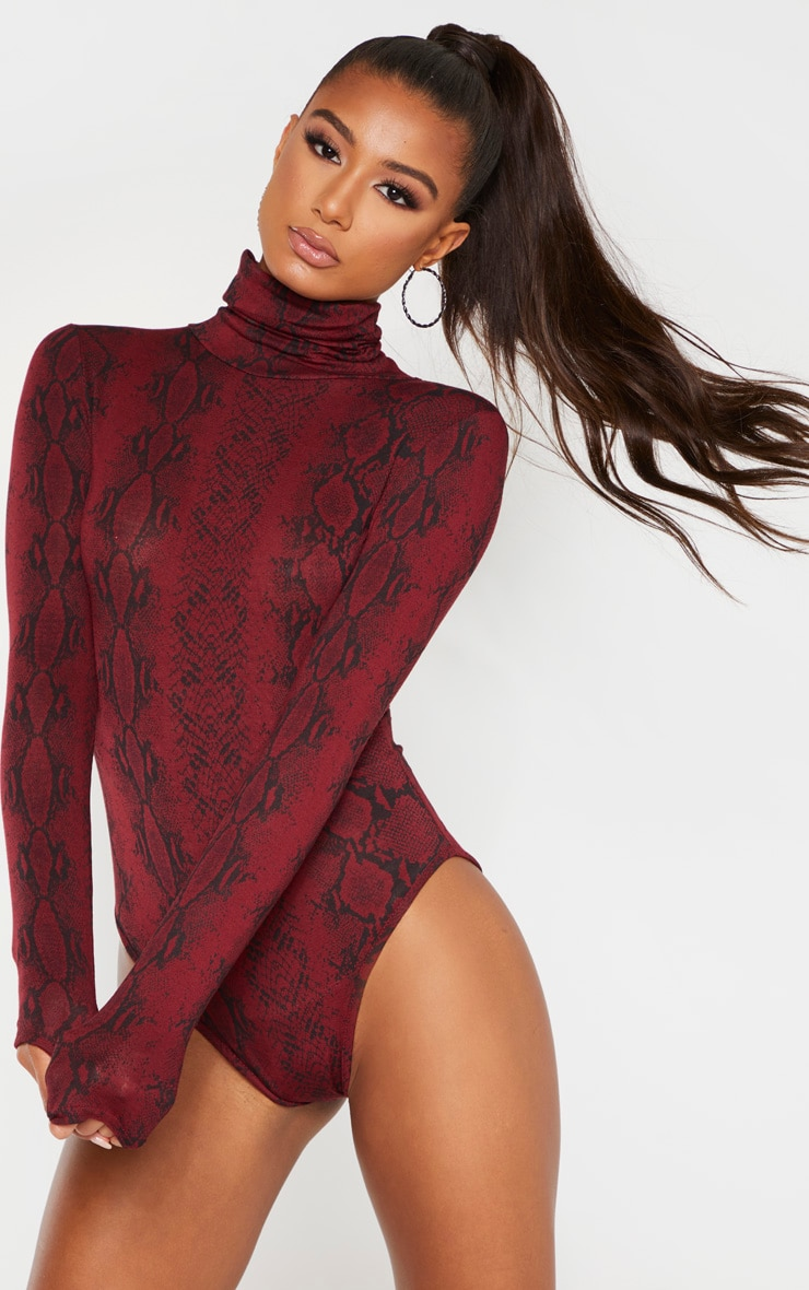 Burgundy Snake Print Roll Neck Long Sleeve Bodysuit 1