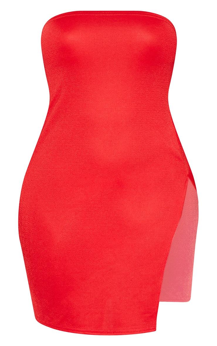 Shape - Robe bandeau moulante rouge fendue 3