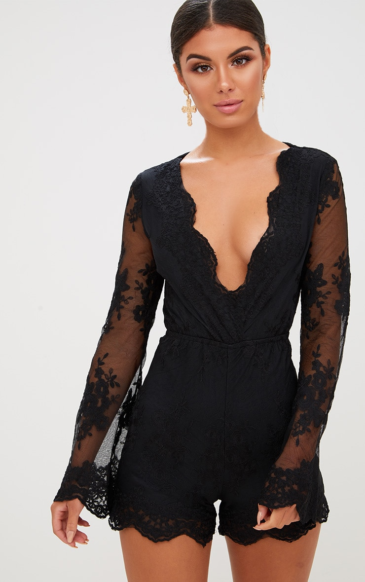 Black Lace Bell Sleeve Romper 1