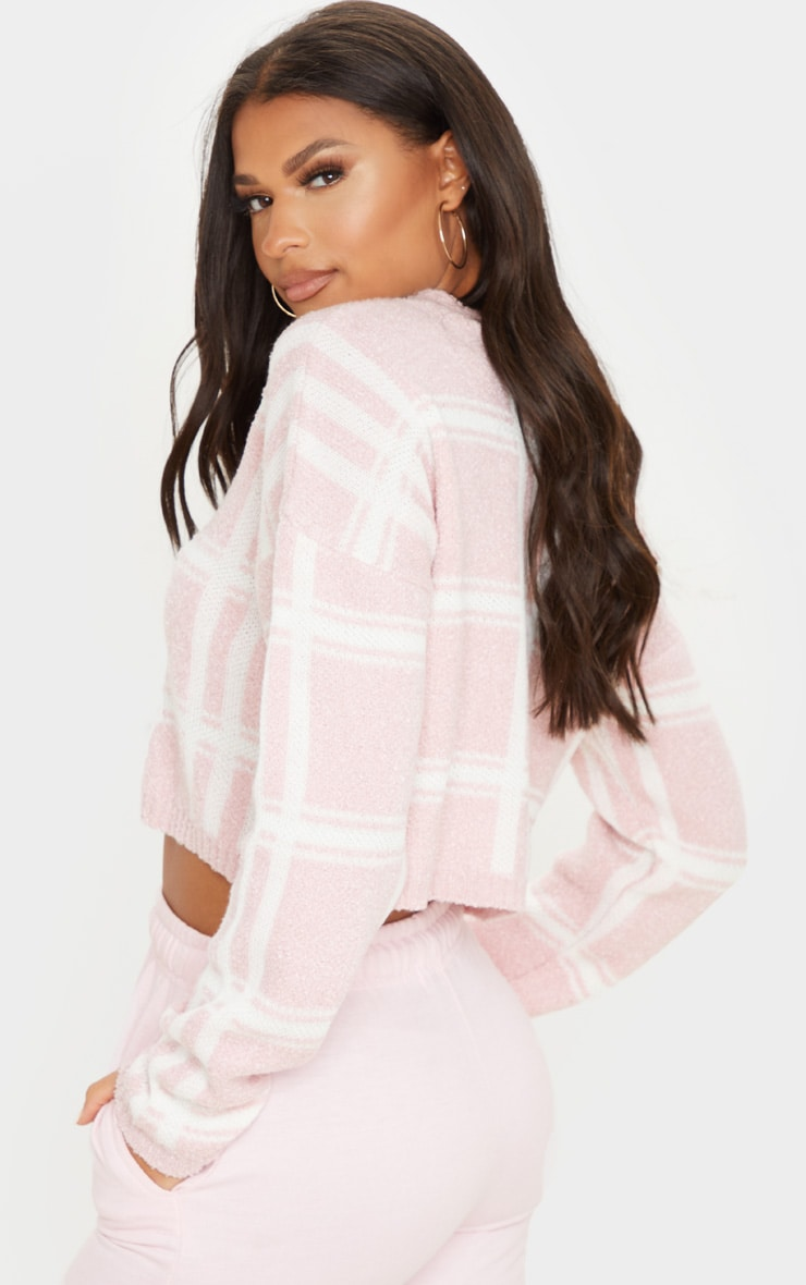 Blush Check Boucle Cropped Jumper 2